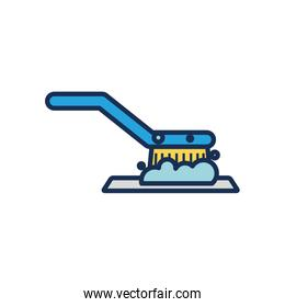 cleaning brush with soap foam, line fill style