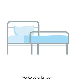 hospital bed with pillow equipment isolated icon