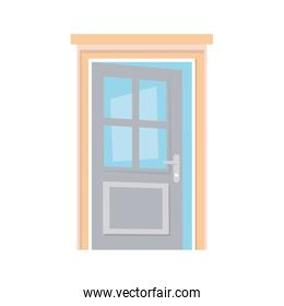 open door home frame isolated icon white background