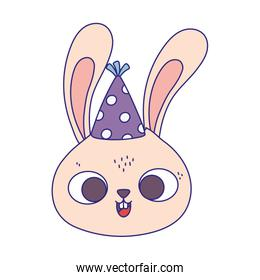 happy birthday, cute rabbit face with party hat isolation design icon