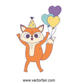 happy birthday, fox with party hat and balloons hearts decoration design icon