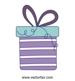 happy birthday, striped gift box surprise with ribbon celebration isolation design icon