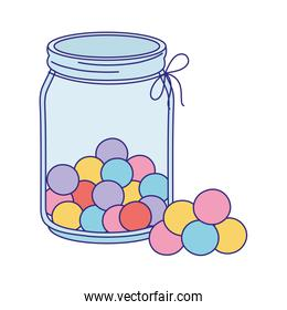 jar glass with balls candies sweet confectionery isolated icon