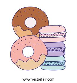 donuts and macaroons sweet candy confectionery isolated icon