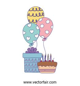 happy day, cake with candles gift and balloons