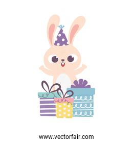 happy day, rabbit with party hat and gift boxes surprise