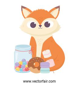 isolated cute fox with candies donut and biscuits