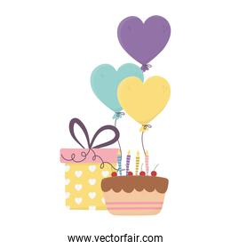 happy day, cake with candles gift and balloons shaped hearts