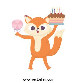 happy day, little fox with cake and candy in stick