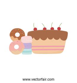 sweet cake donuts macaroons and candies