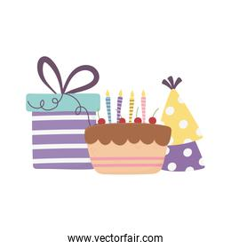 happy day, cake with gift box and party hats decoration