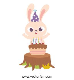 happy day, little rabbit with cake candles celebration sweet