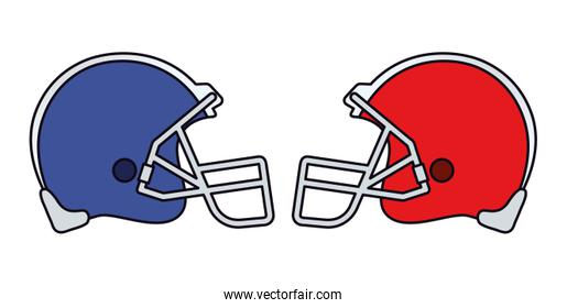 American football helmets vector design