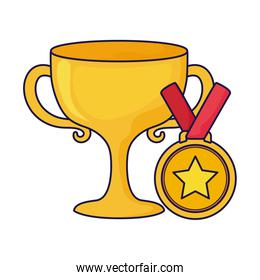 Isolated trophy and medal vector design