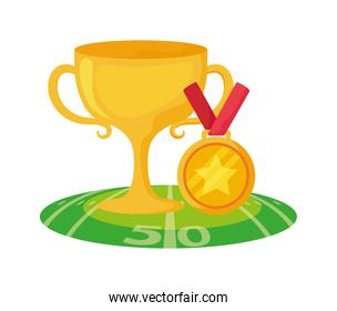 American football trophy and medal over field vector design