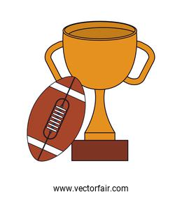 American football ball and trophy vector design