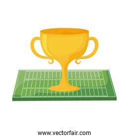 American football trophy over field vector design