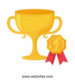 Isolated trophy and seal stamp vector design