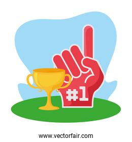American football glove and trophy vector design