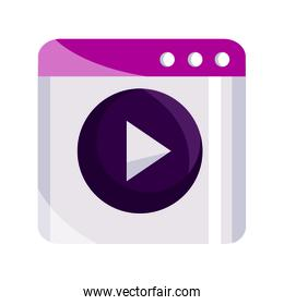 online activities, website content video flat style icon