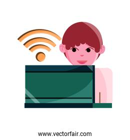 online activities, character with laptop conection internet flat style icon