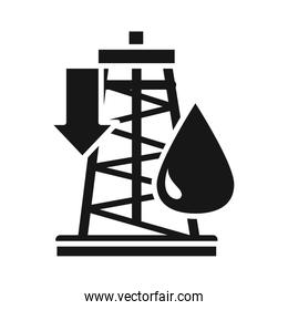 oil tower down crisis economy, oil price crash silhouette style icon