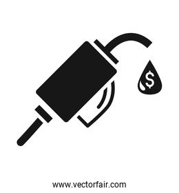 station pump crisis economy, oil price crash silhouette style icon