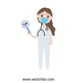 cartoon doctor woman with mouthmask and holding a magnifying glass with virus, flat style