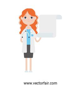 cartoon doctor woman with blank board icon, flat style