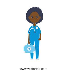 cartoon doctor afro woman icon, flat style