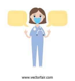 speech bubbles and cartoon doctor woman standing icon, flat style
