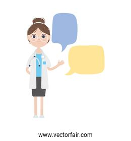 cartoon young doctor woman and speech bubbles icon, flat style