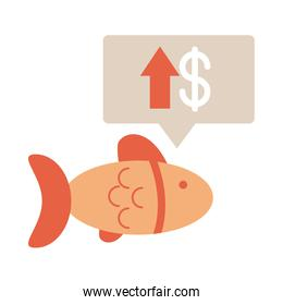 market seafood fish growth arrow, rising food prices, flat style icon