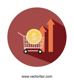 shopping cart with coin money up arrow, rising food prices, block style icon