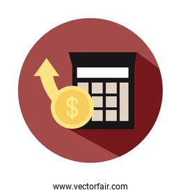 calculator money coin up arrow business, rising food prices, block style icon