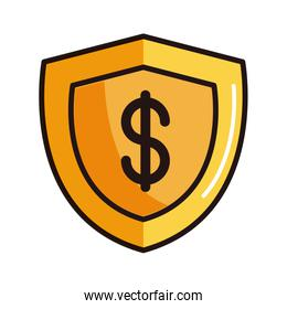 shield protection money shopping or payment mobile banking line and fill icon