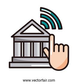 clicking bank website shopping or payment mobile banking line and fill icon