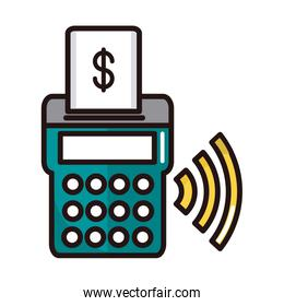 pos terminal shopping or payment mobile banking line and fill icon