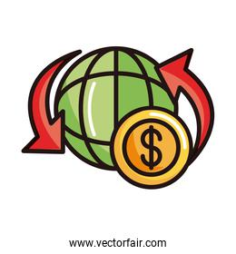around world money shopping or payment mobile banking line and fill icon