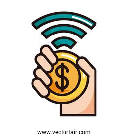 hand with coin money connection shopping or payment mobile banking line and fill icon