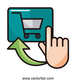 clicking cart order shopping or payment mobile banking line and fill icon