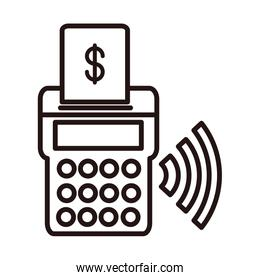 pos terminal shopping or payment mobile banking line style icon
