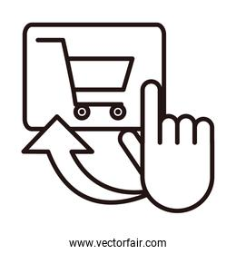 clicking cart order shopping or payment mobile banking line style icon