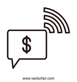 money connection digital shopping or payment mobile banking line style icon
