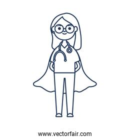cartoon doctor woman with layer hero, flat style