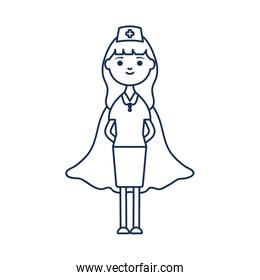 nurse woman with hero layer icon, line style