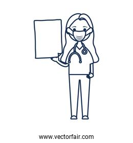 cartoon doctor woman with mouthmask and board icon, line style