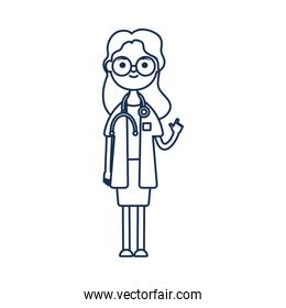 cartoon doctor woman with mouthmask, line style