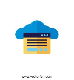 cloud computing with webpage template flat style
