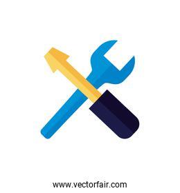 wrench and screwdriver tool flat style